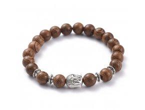 Náramok drevený s hlavou buddhu 2