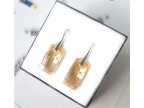 Strieborné náušnice Swarovski Crystals Crystal Golden Shadow