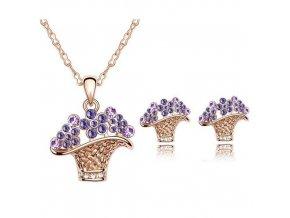 Prívesok s retiazkou a náušnice s fialovými kryštálikmi