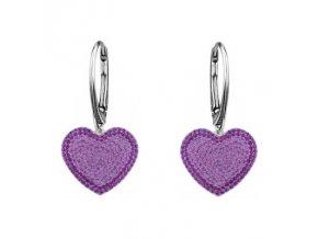 Strieborné náušnice SWAROVSKI ELEMENTS v tvare srdca fialová farba