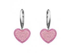 Strieborné náušnice SWAROVSKI ELEMENTS v tvare srdca ružová farba
