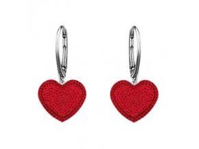 Strieborné náušnice SWAROVSKI ELEMENTS v tvare srdca červená farba