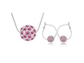 Prívesok a náušnice v tvare guličky - ružové