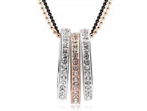 Štýlový náhrdelník Kruhy vykladané kryštálikmi