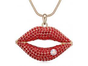 Štýlový náhrdelník Pery vykladané kryštálikmi