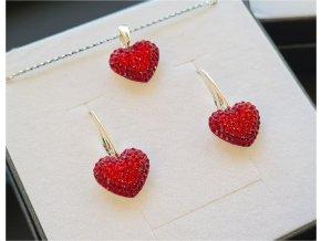 Set Swarovski vykladané srdcia červená farba