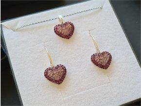 Set Swarovski vykladané srdcia svetlo-tmavo fialová farba