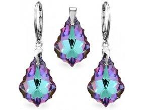 Prívesok a náušnice Barok Made With Swarovski Crystals fialovo modrá farba