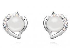 Perlové náušnice v tvare srdca