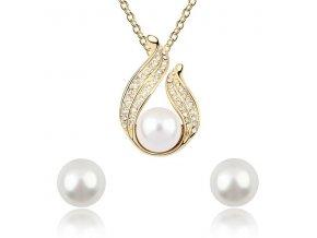Exkluzívny perlový set pozlátený
