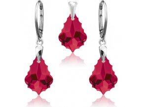 Strieborný set SWAROVSKI ELEMENTS červeno ružová farba