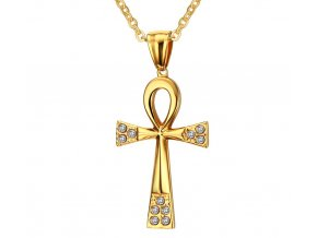 Prívesok krížik Egypt z chirurgickej ocele so zirkónmi zlatá farba