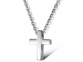 Jednoduchý krížik s retiazkou z chirurgickej ocele strieborná farba