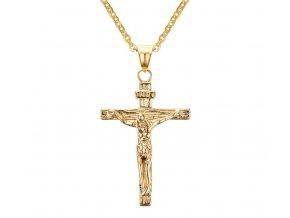Prívesok Krížik s ukrižovaným Ježišom z chirurgickej ocele zlatá farba