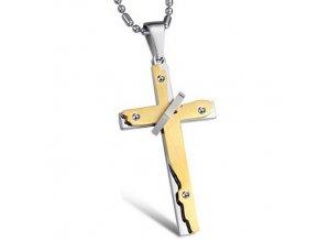 Prívesok Krížik s retiazkou z ocele strieborno zlatá farba