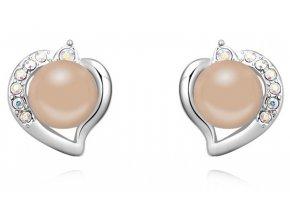Náušnice v tvare srdca s perličkou