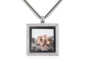 Štýlový dámsky náhrdelnik v tvare štvorca
