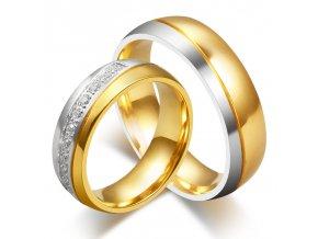 Prstene pre dvoch - zlato-strieborná farba 2ks