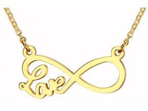 """Náhrdelník nekonečno Infinity """"Love"""" zlatá farba"""