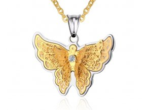 Prívesok z chirurgickej ocele motýľ strieborno zlatá farba