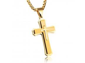 Prívesok kríž s retiazkou Lux - zlatý vzhľad