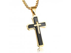Prívesok kríž s retiazkou Lux čierno strieborná farba