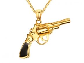 Prívesok pištoľ s retiazkou zlatá farba