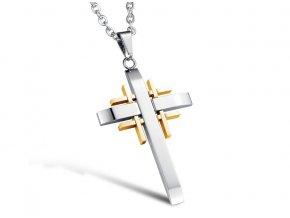 Kríž z chirurgickej ocele s retiazkou strieborno zlatá farba