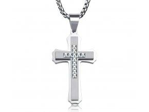 Kríž z chirurgickej ocele so zirkónmi v strede strieborná farba