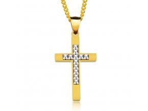 Krížik so zirkónmi v strede s retiazkou - zlatá farba