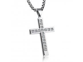 Kríž s malými zirkónmi a retiazkou strieborná farba