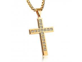 Kríž s malými zirkónmi a retiazkou - zlatá farba