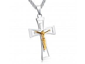 Krížik na krk s retiazkou s ukrižovaným Ježišom strieborno zlatá farba