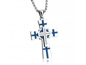Krížik s retiazkou Blue Design strieborný s malými modrými krížikmi