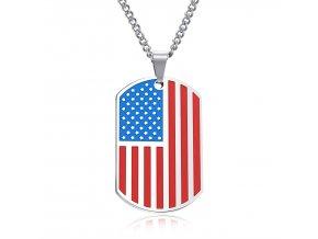 Prívesok Americká vlajka + retiazka