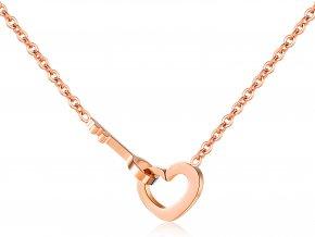 Dámsky náhrdelník - Srdce a kľúč ružovo zlatá farba