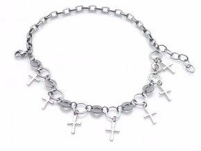 Náramok z chirurgickej ocele 7x krížik