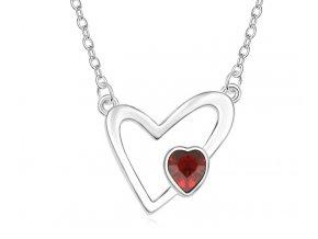 Náhrdelník v tvare srdca Red Crystal