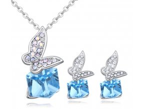 Náušnice a prívesok motýľ a kocka Crystal Blue