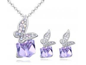 Náušnice a prívesok motýľ a kocka Crystal Violet