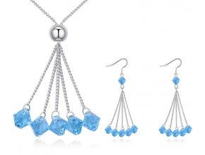 Súprava šperkov s visiacimi kryštálikmi Aqua