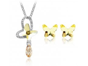 Dámsky set v tvare motýľa zlatá farba prívesok v tvare srdca v strede s motýľom