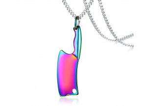 Prívesok farebný holografický v tvare sekery s retiazkou
