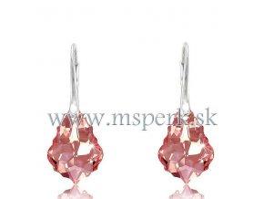 Náušnice Barok Made With Swarovski Crystals - ružové