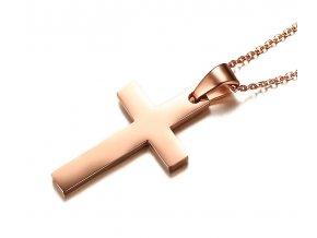 Prívesok jednoduchý krížik s retiazkou zlato ružová farba