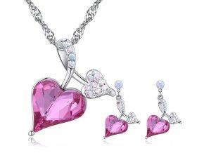 """Prívesok a náušnice """"Verné srdce"""" Rose v tvare srdca ružová farba"""