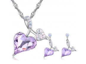 """Prívesok a náušnice """"Verné srdce"""" Violet v tvare srdca fialová farba"""