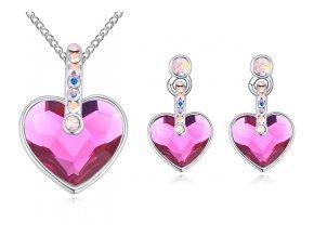 Prívesok a náušnice v tvare srdca ružová farba
