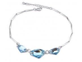 Dámsky náramok s kryštálmi Aquamarine - dlhý