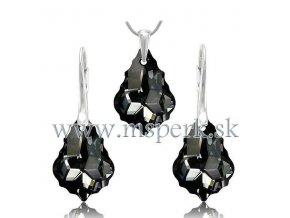 Prívesok a náušnice Barok Made With Swarovski Crystals čierna farba